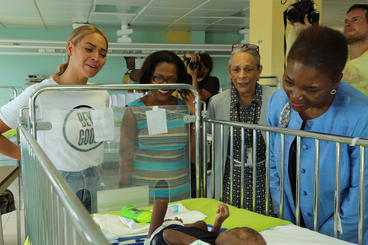 Beyoncé and a new VC Volunteer at St. Damien's Hospital, Haiti