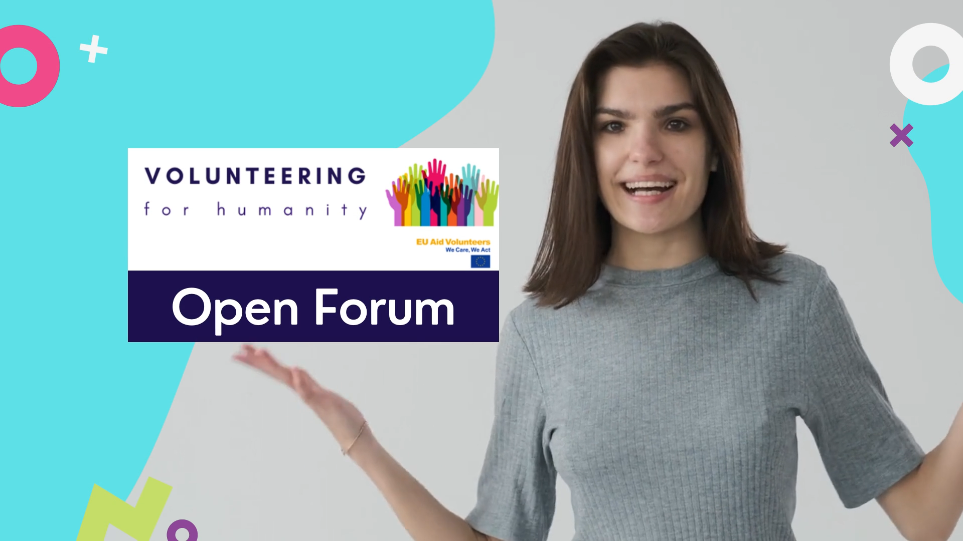 woman with hands spread in front of a backdrop saying volunteering for humanity Open Forum